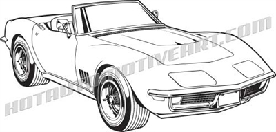 1968 corvette c3 vector clip art, buy two images, get one