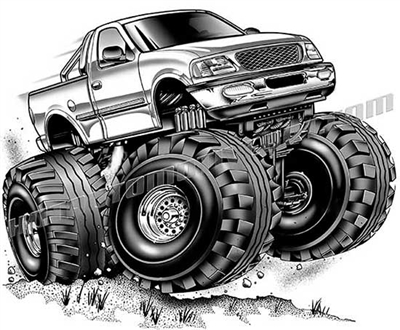 2002 ford f-150 4x4 pickup truck cartoon clip art, buy two ...