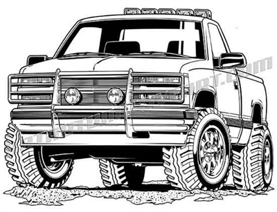 92 chevy 4x4 vector clipart buy two images get one image free for Jacked up truck coloring pages