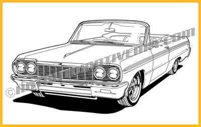 1964 Chevy Impalaa Convertible vector clip art