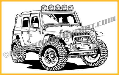 Jeep Wrangler 4x4 vector clip art